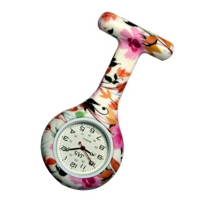 JAS Floral Patterned Nurses Lapel Watch Silicone (Infection Control)