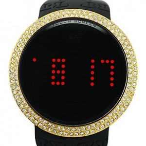 Techno Pave Touch Screen Smart Digital Bling Gold Watch Iced Out Lab Diamond Designer Style Black