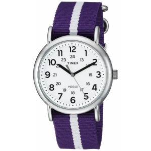 Timex Unisex TW2P684009J Weekender Varsity Row Analog Display Quartz Purple Watch
