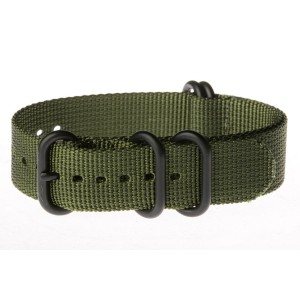 OhFlash 22mm [Solid Olive] Zulu 5 Ring PVD G10 Nylon Nato Militaty Watch Band Strap