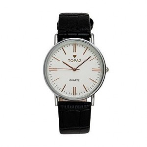 Topaz UNISEX 5026AMRBK Classic Golden Index Numbers, Round Eggshell White Face Dress Watch.
