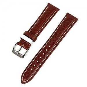ALLSTRAP 18mm Dark Brown w/ White Stitching Thick Leather Watch Band Fits Timex Expedition