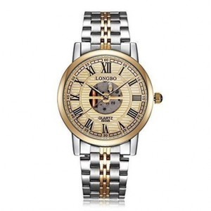 Snkey(TM) Gold Case Hollow Skeleton Dial Stainless Steel Band Wrist Watches for Men Women (Gold Di