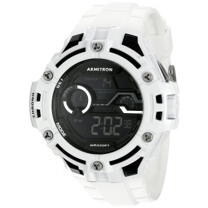 Armitron Sport Men's 40/8362WHT Black Accented Digital Chronograph White Resin Strap Watch