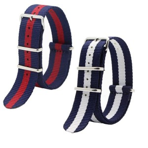 Ritche 2pc 20mm Nato Ss Nylon Striped Navy blue / White, Navy blue /red Replacement Watch Strap Band