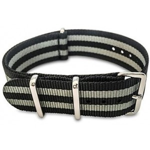 Shark Straps - 20mm Black and Gray Striped Nylon Strap - Black and Grey James Bond Style