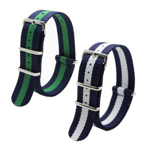 Ritche 22mm Nato Ss Nylon Striped Navy Blue / White,Blue/Green Replacement Watch Strap Band