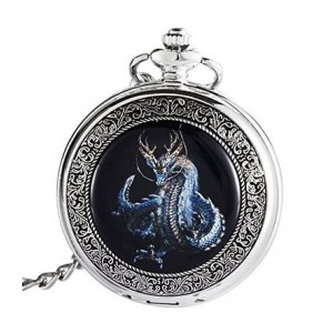 ShoppeWatch Blue Dragon Pocket Watch Steampunk Hand Wind Mechanical Skeleton Dial Silver Tone Case PW-192