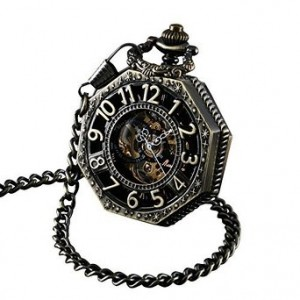 ShoppeWatch Pocket Watch with Chain Antique Gold Tone Octagon Case Steampunk Mechanical Movement PW-221