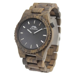 Amexi Men's Wooden Watches Black Sandalwood Watch with Ebony Wood Case, Miyota Movement, Date Func