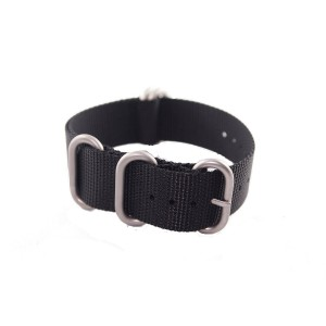 BluShark - 22mm Black 4-Ring Watch Strap with Brushed Stainless Steel Buckles - G-10 Nylon Strap