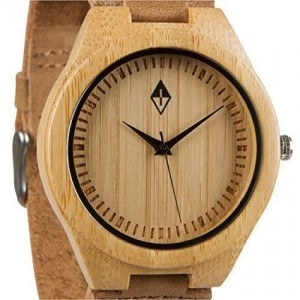Woodgrain Watches Woodgrain Bamboo Wooden Watch with Genuine Brown Cow Leather Strap Quartz Analog Casual Wood Watch
