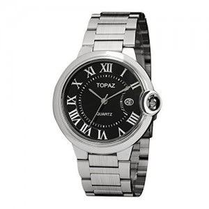 Topaz 5038AD Men's Black Face Dress Analog Watch with Date and Unique Design.