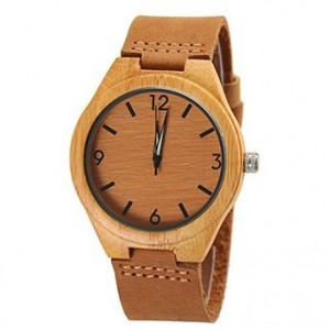 Cucol Wooden Watches Numeric Luminous Needle Genuine Leather Strap Bamboo Wrist Watches with Box
