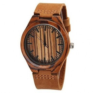 Cucol Wooden Watches For Men Genuine Brown Leather Strap Zebra Watch