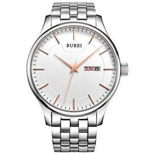 BUREI Men's SM-13001-P51AR Day and Date Stainless Steel Watch with White Dial