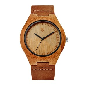 Cucol Bamboo Wooden Watch Genuine Brown Leather Strap Miyota Quartz Movement with Box