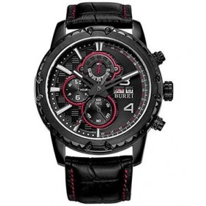 BUREI Men's BM-7011-C06EH Chronograph Watch with black leather band