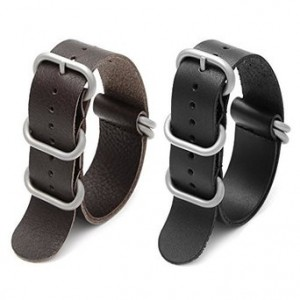 Ritche 2pc 20mm Nato Ss Leather Strap Black , Brown Leather Replacement Watch Strap with silver clasp