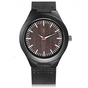 Cucol Ebony Wooden Watch White Luminous Analog Quartz Watch with Gift Box Color Black