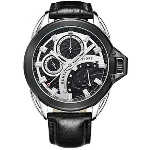BUREI Men's BM-7012-P01EYE Stainless Steel Watch with Black Leather Band and Black Dial