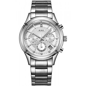 BUREI Men's SM-17005-P51AY Date Stainless Steel Classic Chronograph Dress Watch with Link Bracelet