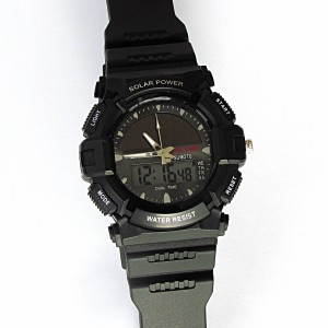 Men's Solar Sport Watch LED/ Quartz Combo Shock and Water Resistant SSW3 ricco power watch