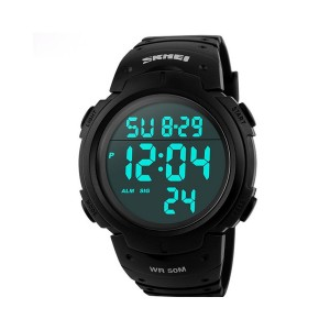 Aposon Mens Military Digital Sport Watch with Fashion Design Electronic LED Display Water Resistant - Black