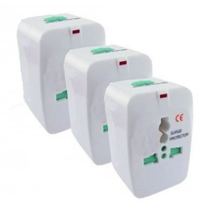 ClearMax AMZOVSUNP3V Insten Universal World Wide Travel Charger Adapter Plug, 3-Pack, White