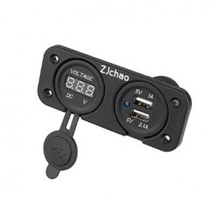 ZJchao zjchao030 Dual USB Charger Socket Waterproof Design With DC Voltmeter Digital for Car, Boat, Marine, Carvan