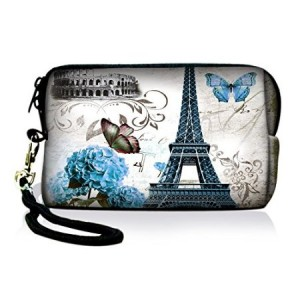 PrefessionalBags ICOLOR Eiffel Tower Design Digital Camera Case Bag Pouch Coin Purse with Strap For Sony Samsung Ni