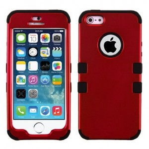 iPhone 5S Case, iPhone 5 Case Case Loca Hybrid Impact Shockproof Cover Hard Armor Shell and Soft Silicone Skin Layer With Stylus Pen (Red/Black)