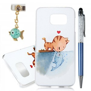 S6 Case, Galaxy S6 Case - YOKIRIN Print Painted Cat Kiss Fish Design PC Case Hard Cover for Samsung Galaxy S6 2015(Package Includes: One Phone Cases, One Stylus Pen, One Dust Plug)