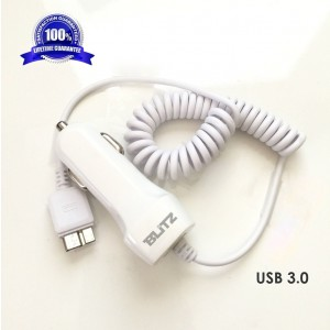 Blitz Element USB 3.0 Coil Retractable Car Charger With Dual-Output for Samsung Galaxy S5 / Note III 3