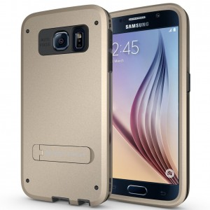 SUPTECH Armor Galaxy S6 Case3 Layer Protective Samsung S6 Case with HD SCREEN PROTECTOR [Drop Protection] [Shock Absorption] Glaxy S6 Hybrid Case with Kickstand (Champagne Gold)