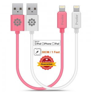 Fcolor iPhone 5 Charger, 2 Pack 1 Ft Short Lightning Cable, F-color™ Heavy Duty Apple MFi 8 Pin Charger C