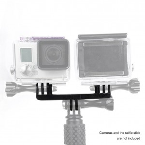 Accmor Dual Hero Mount Adapter for GoPro Hero4 Hero3+ Hero3 Hero2 Hero Black/ Silver Cameras - fits GoPro Monopod Selfie Stick and Most GoPro Hero Accessories