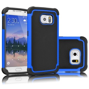 Galaxy S6 Case, Tekcoo(TM) [Tmajor Series] [Blue/Black] Shock Absorbing Hybrid Rubber Plastic Impact Defender Rugged Slim Hard Case Cover Shell For Samsung Galaxy S6 S VI G9200 GS6 All Carriers