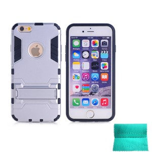 iPhone 5S Case,Moment Dextrad [Non-Slip][Shockproof]][Stand Feature]Dual Layer Armor Defender Shock Absorption protective for iPhone 5/5S (Silver)