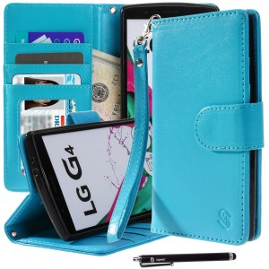 LG G4 Case, Style4U Premium PU Leather Stand Wallet Case with ID Credit Card / Cash Slots for LG G4 + 1 Stylus [Blue]