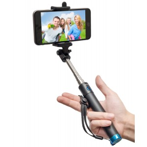 Selfie Stick, Baslo Compact Foldable Selfie Poles Extendable Wireless Bluetooth Selfie Sticks with Built-In Remote Shutter Best Selfie Stick for iPhone Samsung and Other Mainstream Smart Phones (Blue)