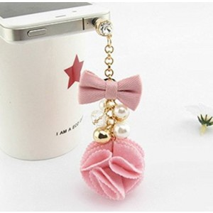 Tiny Chou Pretty Cute Pearl and Bow Girly Pendant Tassel 3.5 mm Cell Phone Charm Anti Dust Plug Earphone Cap Headphone Jack Accessory for iphone 6 Plus,iPhone 6,ipods,ipads,Samsung Galaxy series