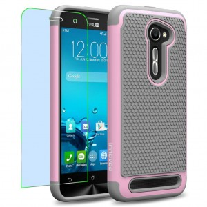 Asus Zenfone 2E Case, INNOVAA Smart Grid Defender Armor Case W/ Free Screen Protector and Touch Screen Stylus Pen - Grey/Light Pink