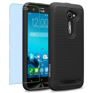 Asus Zenfone 2E Case, INNOVAA Smart Grid Defender Armor Case W/ Free Screen Protector and Touch Screen Stylus Pen - Black
