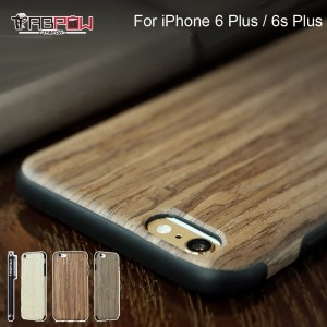 iPhone 6 Plus Case, iPhone 6s Plus Case, TabPow [Wooden][Shockproof][Drop Protection][Heavy Duty] Dual Layer Slim Hybrid Wood Case Cover For iPhone 6 Plus/ iPhone 6S Plus (5.5 Inch) (Rosewood)