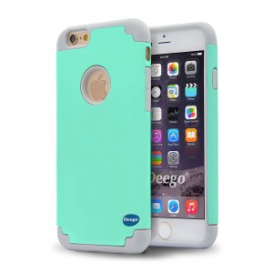 iPhone 6S Plus Case, Sophia Shop Hybrid Slim Dual Layer Case Hard PC+ Soft Silicone Combo High Impact Defender Shockproof Case Cover For Apple iPhone 6S Plus/ 6 Plus 5.5 inch (Aqua+Grey)