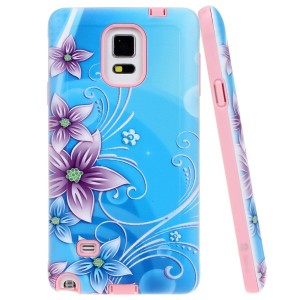 Note 4 Case, Style4U Flower Design Slim Fit Hybrid Armor Case for Samsung Galaxy Note 4 with 1 Style4U Stylus [Lily Flower Pink]