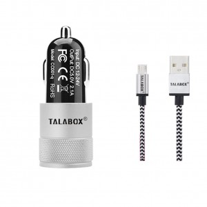 TALABOX PowerDrive 24W 2-Port USB Car Charger + 3ft Micro USB to USB Cable Combo for Samsung Galaxy S6 / Edge / Plus, Note, Nexus, HTC, Motorola, Nokia and More devices.(Iron Grey)