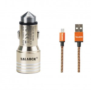 TALABOX 24W 3.1A 2 USB ports Metal steel high speed Car Charger + 3ft Micro USB Cable Charging for Samsung,Blackberry,Note, Nexus, HTC, Motorola, Nokia and All Andriod cell phones.(Gold)