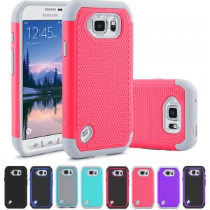 S6 Active Case, LK [Drop Protection] Shock-Absorption Hybrid Dual Layer Armor Defender Protective Case Cover for Samsung Galaxy S6 Active (Rose Pink)